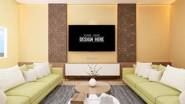 Tv in living room mockup Premium Psd