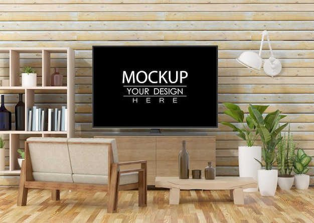 Tv in soggiorno psd mockup