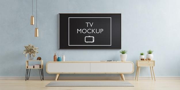 テレビはモダンなリビングルームの3 dレンダリングでモックアップ