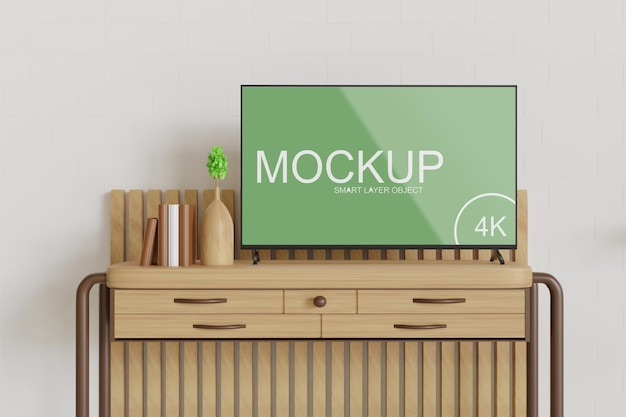 Tv mockup standing on the wooden table