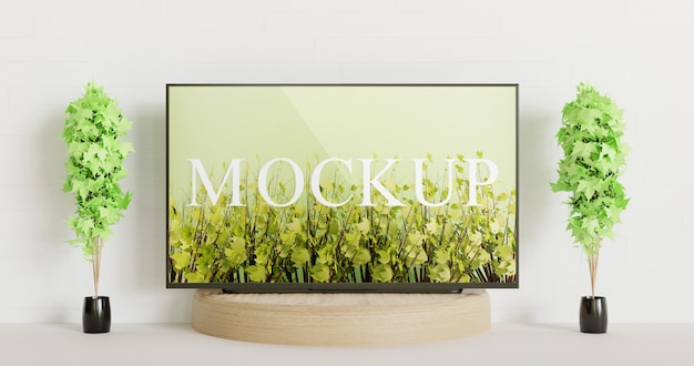 Tv mockup on the wooden podium between couple decoration plants