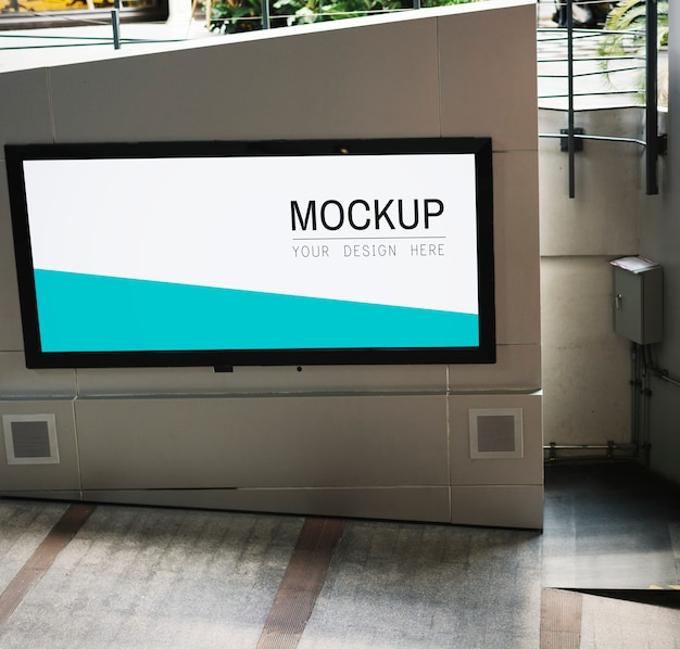 Tv screen mockup at walkway