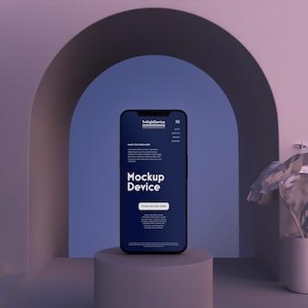 Scena crepuscolare del mockup del dispositivo