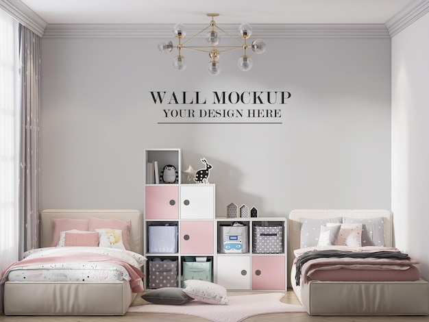 Twin bed child room wall background in 3d rendering
