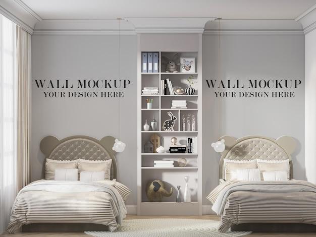 Twin bedroom wall mockup behind ear shaped headboard