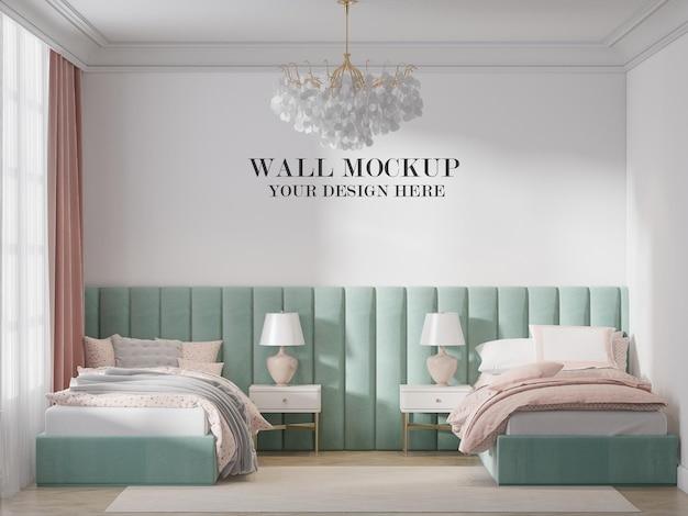 Twin bedroom wall template in 3d rendering
