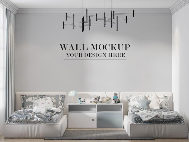 ツインベッドルームの壁のテンプレート