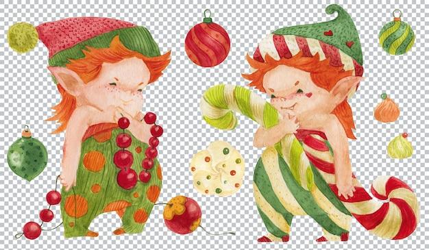 크리스마스 장식을 준비하는 쌍둥이 엘프