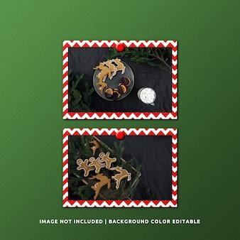 クリスマスのためのツインランドスケープペーパーフレームモックアップ