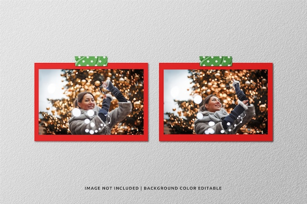Twin landscape paper frame photo mockup for christmas
