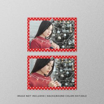 クリスマスのためのツイン風景紙フレーム写真モックアップ