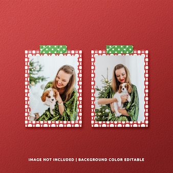 Twin portrait paper frame mockup for christmas