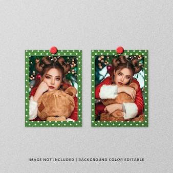 Twin portrait paper frame photo mockup for christmas