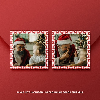 Twin square paper frame mockup for christmas