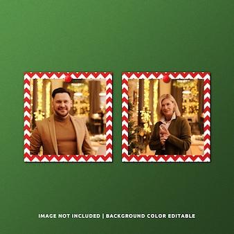 クリスマスのためのツインスクエアペーパーフレームモックアップ
