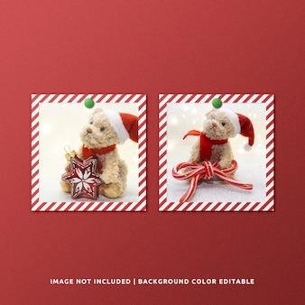크리스마스를위한 트윈 스퀘어 종이 프레임 모형