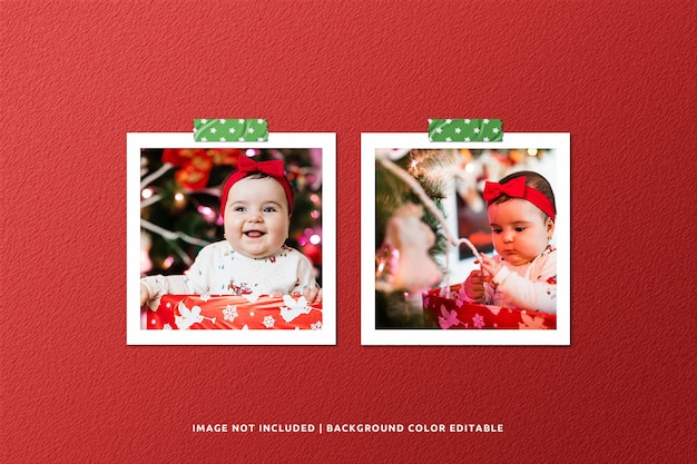 Twin square paper frame photo mockup for christmas