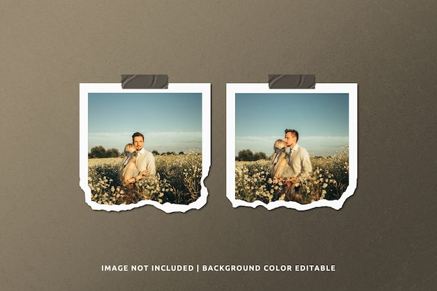 Twin square torn paper photo frame mockup