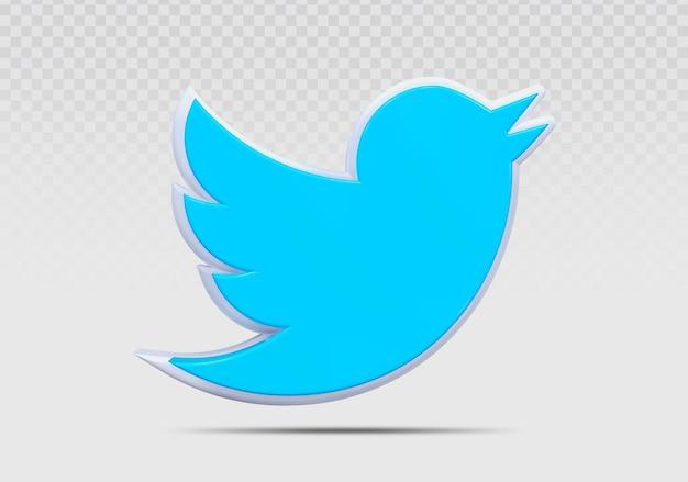Twitte 3d 아이콘 렌더링 개념 크리에이 티브