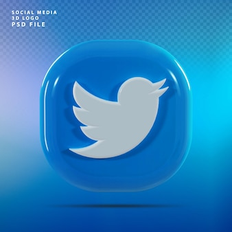 Twitte 로고 3d 렌더링 럭셔리