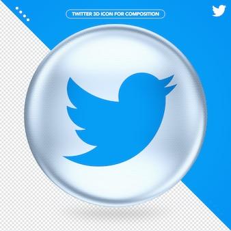 Twitter 3d ellipse white logo