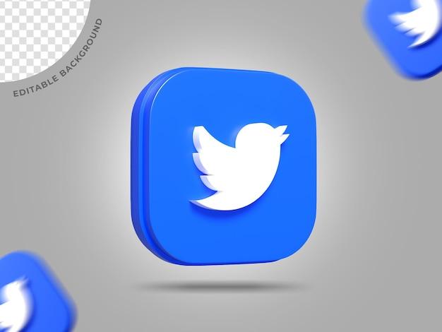 Twitter 3d логотип социальные сети визуализации фона редактируемый ic