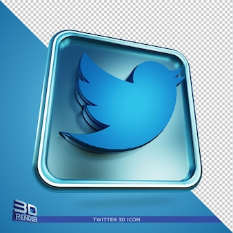 Twitter 3d rendering icon isolated