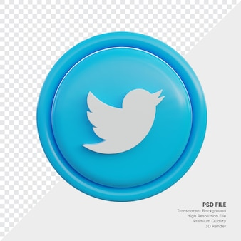 고립 된 라운드에서 트위터 3d 스타일 로고 개념 아이콘