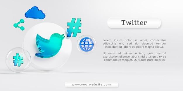 트위터 아크릴 유리 로고와 소셜 미디어 아이콘