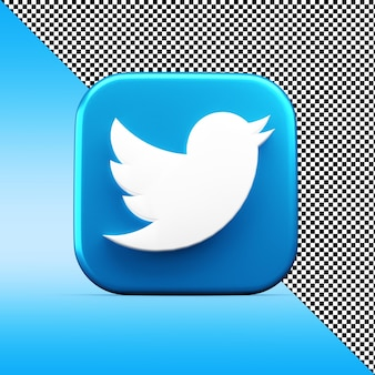 Twitter app 3d icon rendering isolated