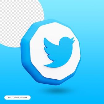 Значок приложения twitter, изолированные в 3d-рендеринге