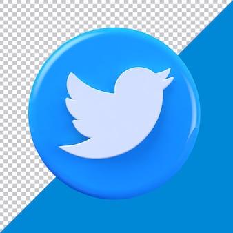 Twitter круг 3d визуализации значок