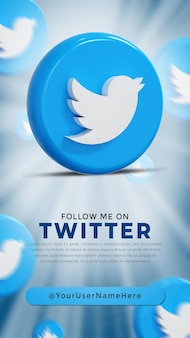 Twitter glossy logo and social media icons story