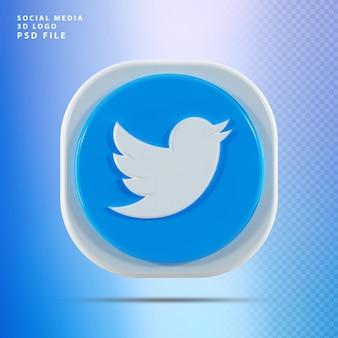트위터 아이콘 3d 렌더링 모양