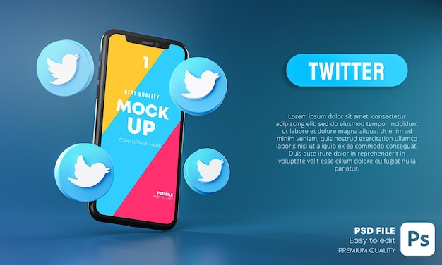 Twitter icons around smartphone app mockup 3d