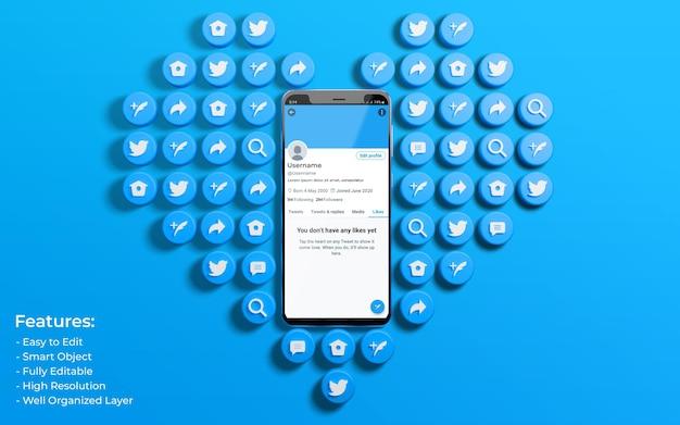 Макет интерфейса twitter, окруженный значком любви и комментария в 3d