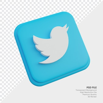 둥근 모서리 사각형 절연 트위터 아이소메트릭 3d 스타일 로고 개념 아이콘