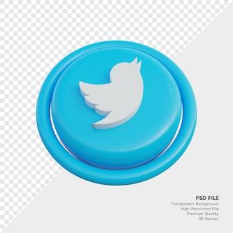 고립 된 라운드에서 트위터 아이소메트릭 3d 스타일 로고 개념 아이콘