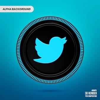 트위터 로고 배지 3d 렌더링