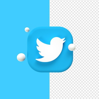 Twitter logo icon 3d rendering