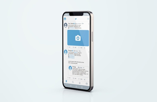 Twitter на серебряном макете мобильного телефона