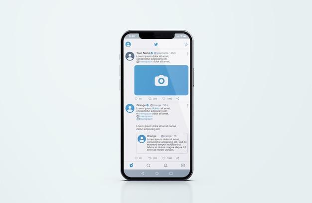 실버 휴대폰 모형의 트위터 프리미엄 PSD 파일