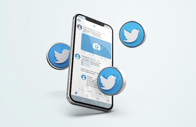 Twitter su silver mobile phone mockup con icone 3d