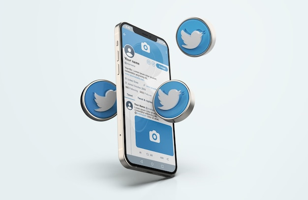 Twitter on silver mobile phone mockup with 3d icons