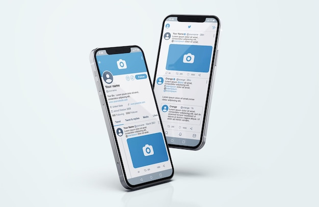 Twitter on silver mobile phone mockup