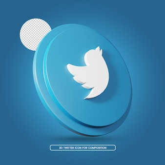 Twitter social media 3d rendering icon template