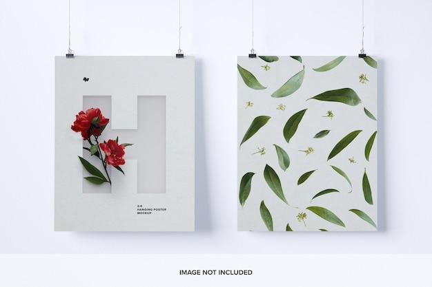 두 개의 3 : 4 세로 매달려 포스터 목업