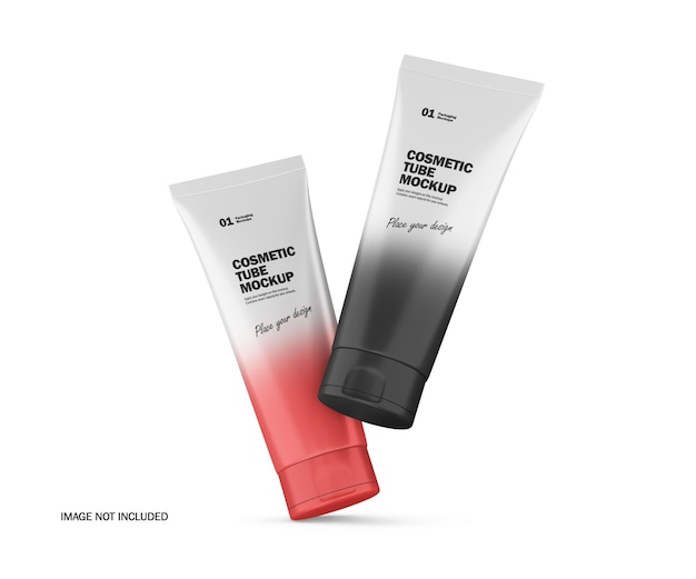 2つの3dマットプラスチック化粧品チューブpsdモックアップ