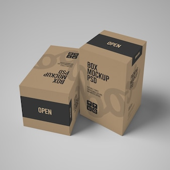 Two 3d paper box mockups with editable design