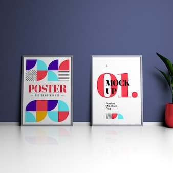 Two 3d rendering posters mockups